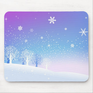 Snowy Trees Mouse Pad