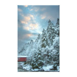 Snowy Trees over Covered Bridge Landscape Stretched Canvas Print