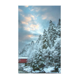 Snowy Trees over Covered Bridge Landscape Canvas Print