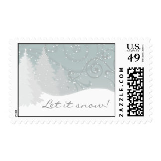 Snowy Trees Postage Stamp