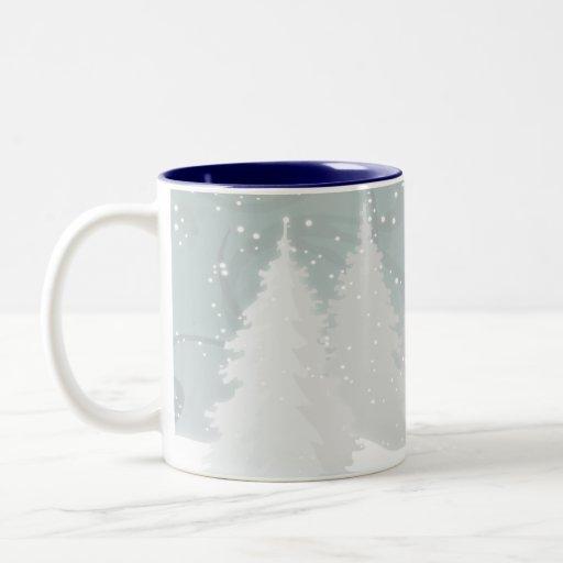 Snowy Trees Two-Tone Coffee Mug