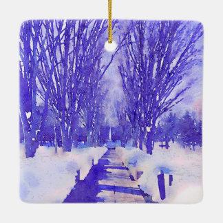 Snowy Treescape Ceramic Ornament