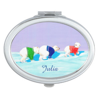 Snowy Trek | Cute Personalizable Compact Mirror