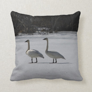 Snowy Trumpeter Swans Throw Pillow