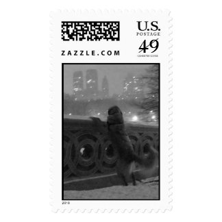 Snowy View from Bow Bridge in Central Park Stamp