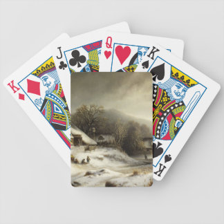 Snowy Village and Landscape Bicycle Playing Cards