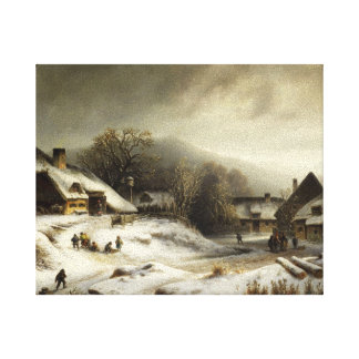 Snowy Village and Landscape Stretched Canvas Prints