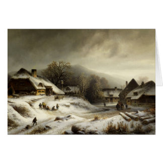 Snowy Village and Landscape Card