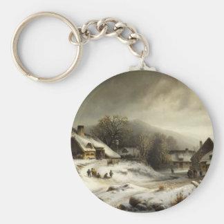 Snowy Village and Landscape Keychain