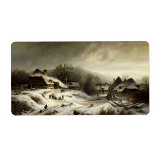 Snowy Village and Landscape Personalized Shipping Label