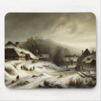 Snowy Village and Landscape Mouse Pad