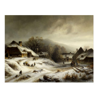 Snowy Village and Landscape Postcard