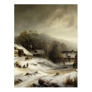 Snowy Village and Landscape Postcard