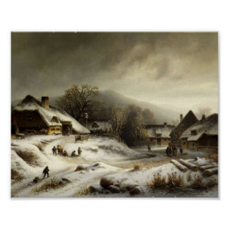 Snowy Village and Landscape Poster