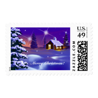Snowy Village Painting Christmas Postage Stamps