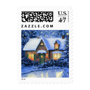 Snowy Village Painting. Christmas Postage Stamps at Zazzle