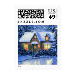 Snowy Village Painting. Christmas Postage Stamps