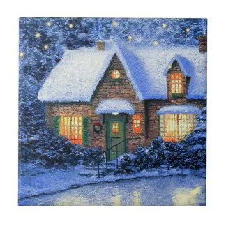 Snowy Village Scene Christmas Gift Ceramic Tiles Tile