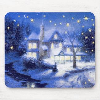 Snowy Village Scene Christmas Gift Mousepad