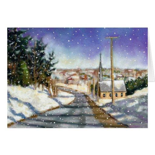 Snowy Village Scene With Church: Pastel Art Card