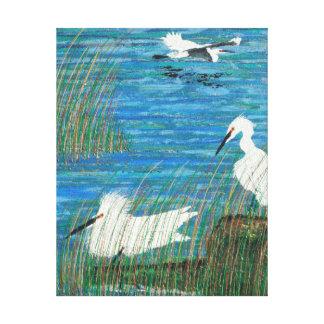 "Snowy white egret ""estuary"" canvas print"
