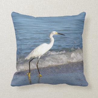 Snowy White Egret in Surf Throw Pillow