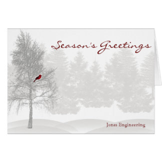 Snowy White Forest with Red Cardinal Greeting Card