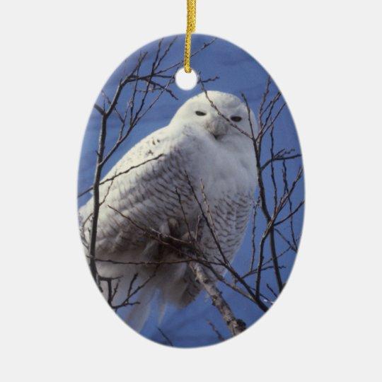 Snowy White Owl Against Azure SKy Ceramic Ornament