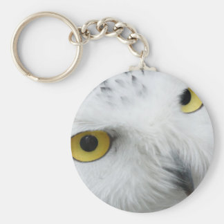 Snowy White Owl with Piercing Eyes Key Chains