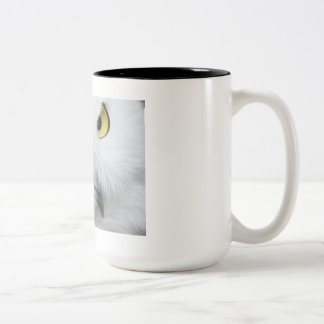 Snowy White Owl with Piercing Eyes Two-Tone Coffee Mug