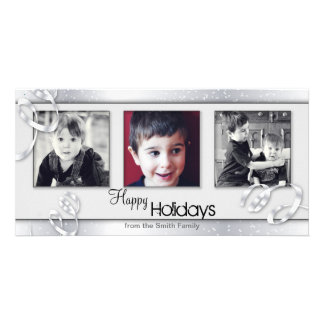 Snowy White Silver Holiday Christmas Photo Card