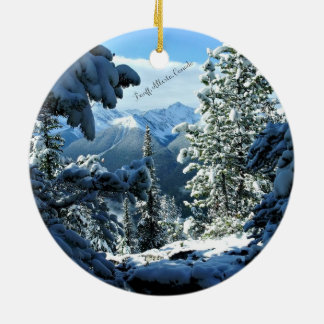 Snowy White Winter in Banff, Alberta, Canada Ceramic Ornament