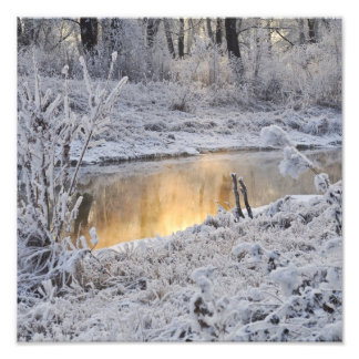 Snowy white winter landscape with light reflect photographic print
