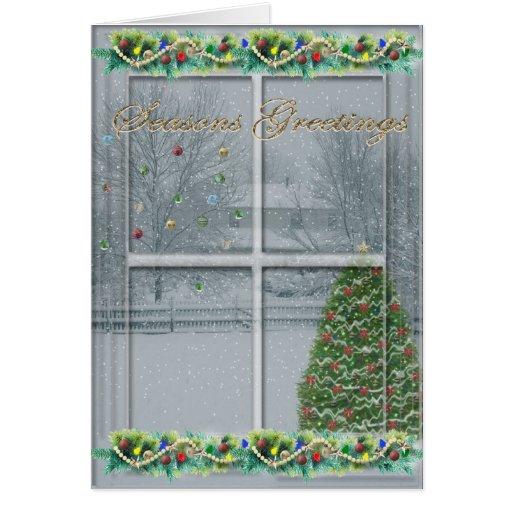 Snowy Window Seasons Greetings Card