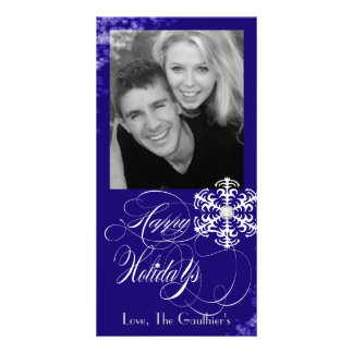 Snowy Winter Blue Holiday Photo Card