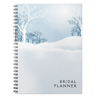 Snowy Winter Bridal Planner ice blue Notebook