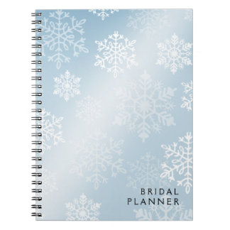 Snowy Winter Bridal Planner ice blue Spiral Notebook