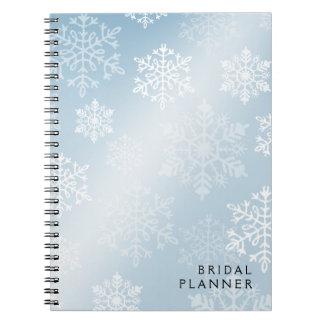 Snowy Winter Bridal Planner ice blue Spiral Notebook