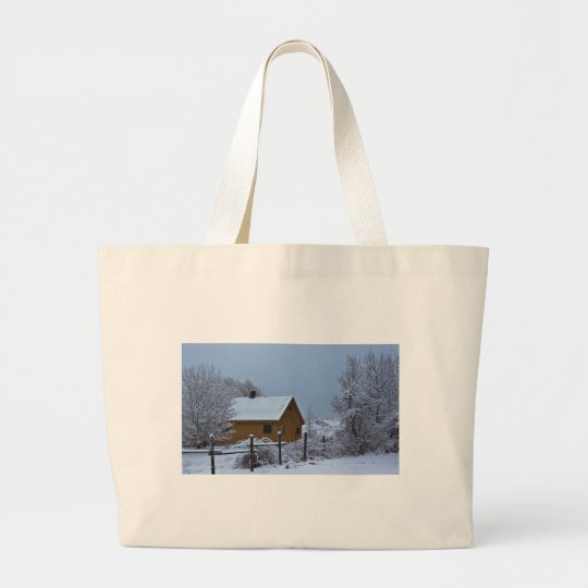 Snowy Winter Cabin at Christmas Large Tote Bag