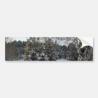 Snowy Winter Day Car Bumper Sticker