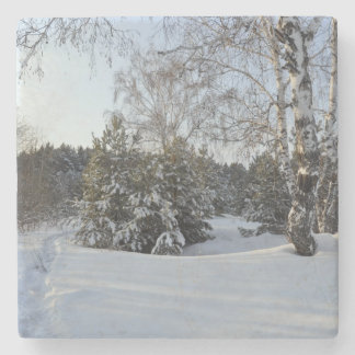 Snowy Winter Day Stone Coaster