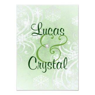 "Snowy Winter Flourish Green Wedding Invitation 4.5"" X 6.25"" Invitation Card"