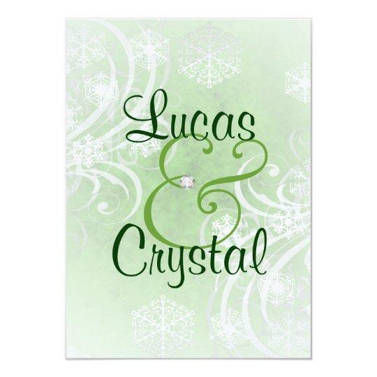 Snowy Winter Flourish Green Wedding Invitation