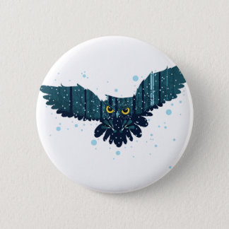 Snowy Winter Forest and Owl 2 Button