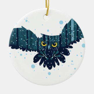 Snowy Winter Forest and Owl 2 Ceramic Ornament