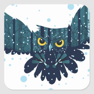 Snowy Winter Forest and Owl 2 Square Sticker