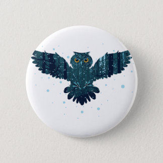 Snowy Winter Forest and Owl Button