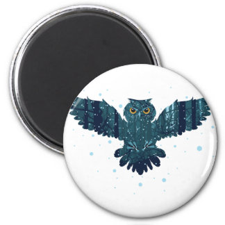 Snowy Winter Forest and Owl Magnet