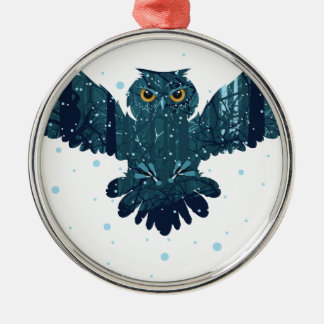 Snowy Winter Forest and Owl Metal Ornament