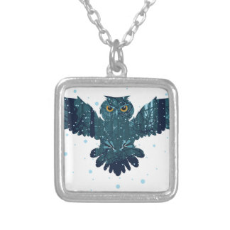 Snowy Winter Forest and Owl Silver Plated Necklace